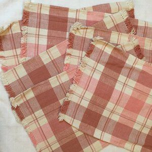 NWOT Six Pink and Cream Cotton Placemats